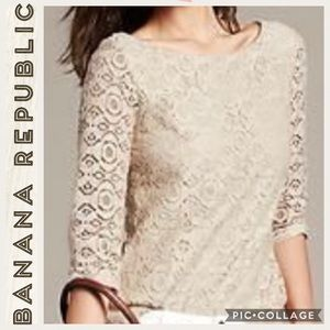 Banana Republic•Lace Driver Cottonwood Blouse•8